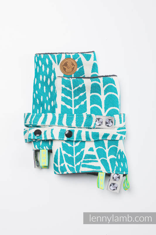 Drool Pads & Reach Straps Set, (60% cotton, 40% polyester) - SKETCHES OF NATURE - SEA GREEN #babywearing