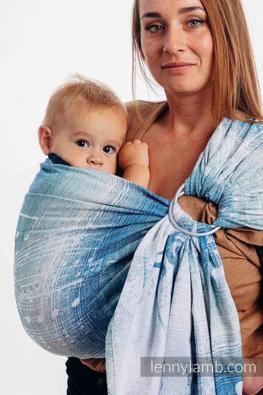 Ringsling, Jacquard Weave (54% cotton, 46% silk) - SYMPHONY - OVER CLOUDS - standard 1.8m #babywearing