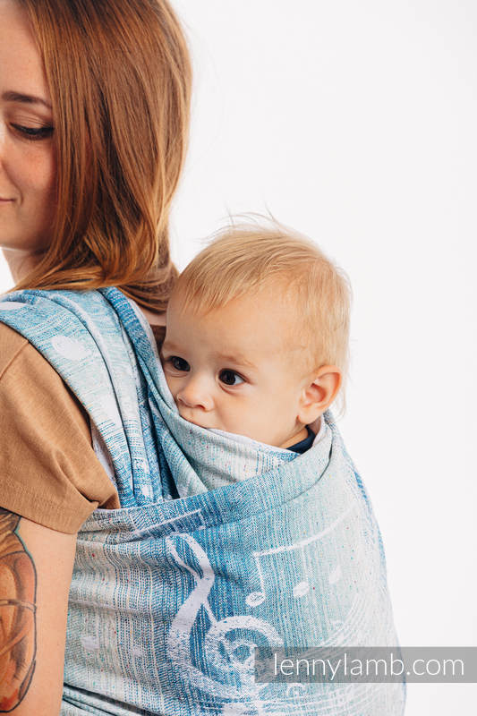 Baby Wrap, Jacquard Weave (54% cotton, 46% silk) - SYMPHONY - OVER CLOUDS - size XL #babywearing