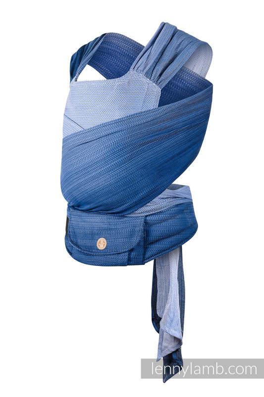 LennyHybrid Half Buckle Carrier, Standard Size, herringbone weave 100% cotton - LITTLE HERRINGBONE OMBRE BLUE #babywearing