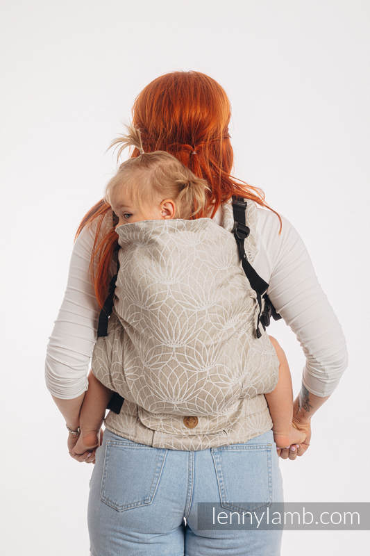 LennyPreschool Carrier, Preschool Size, jacquard weave 100% linen - LOTUS - NATURAL   #babywearing