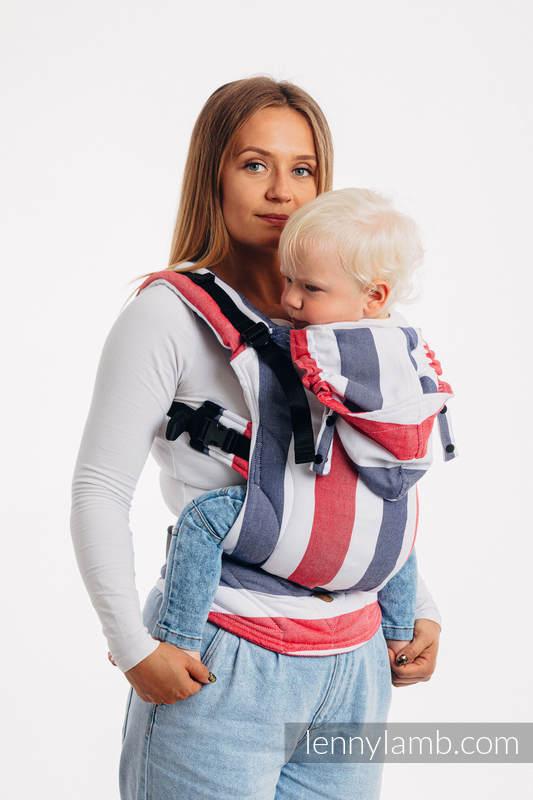 LennyGo Ergonomic Carrier, Baby Size, broken-twill weave (bamboo + cotton) - MARINE #babywearing