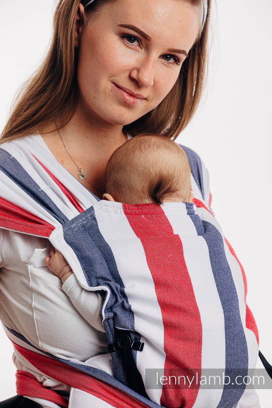 LennyHybrid Half Buckle Carrier, Standard Size, broken - twill weave (60% cotton, 40% bamboo) - MARINE #babywearing