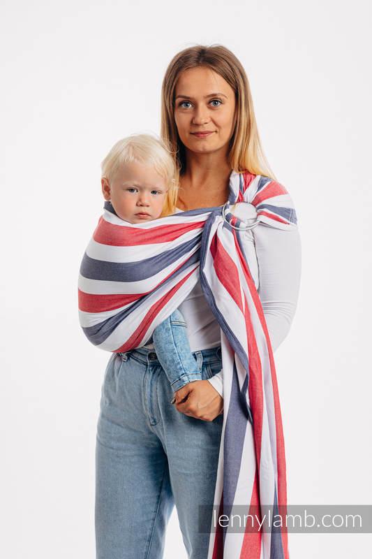 Bandolera de anillas - 60% algodón, 40% viscosa de bambú - sarga cruzada, con plegado simple - MARINA  - standard 1.8m (grado B) #babywearing