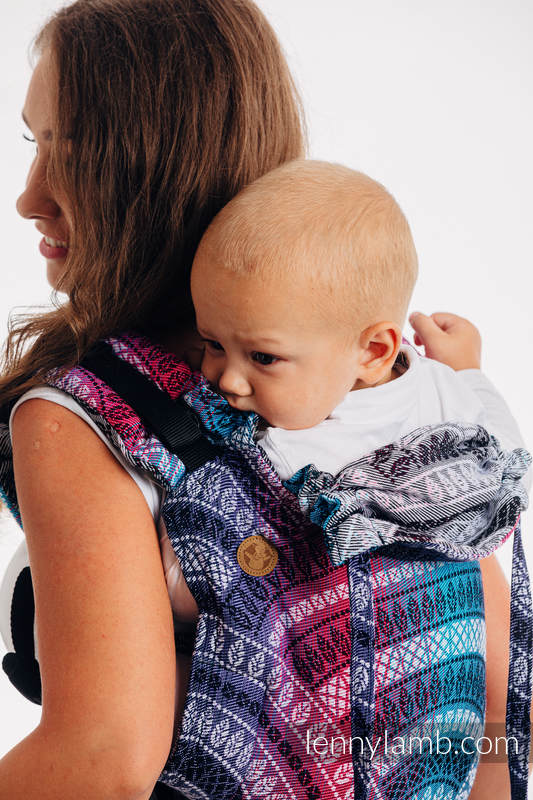 Lenny Buckle Onbuhimo Tragehilfe, Größe Standard, Jacquardwebung (35% Bambus, 65% Baumwolle) - PEACOCK'S TAIL - DREAMSPACE #babywearing