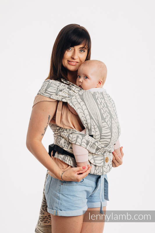 LennyHybrid Half Buckle Carrier, Standard Size, jacquard weave (85% cotton, 15% bamboo charcoal) - SKETCHES OF NATURE - PURE  #babywearing