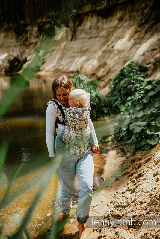 LennyGo Ergonomic Carrier, Baby Size, jacquard weave (85% cotton, 15% bamboo charcoal) - SKETCHES OF NATURE - PURE - no dyes #babywearing