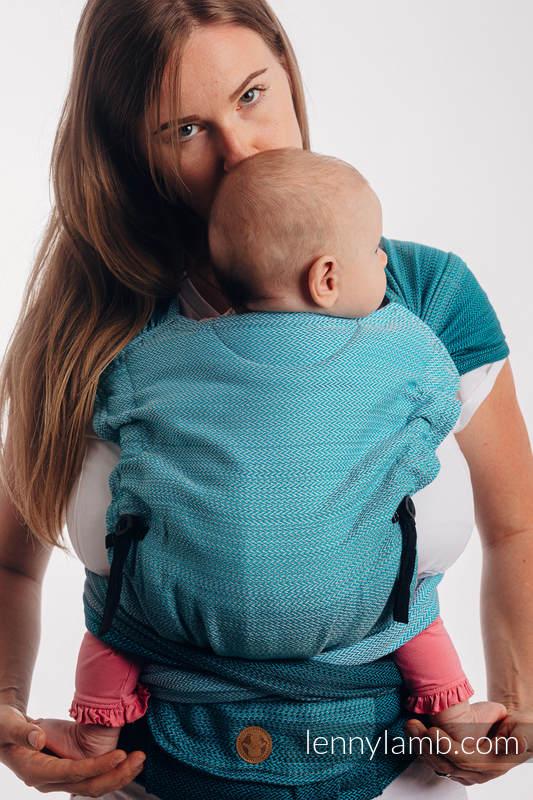 LennyHybrid Half Buckle Tragehilfe, Größe Standard, Fischgrätmuster, 100% Baumwolle - LITTLE HERRINGBONE OMBRE TEAL #babywearing