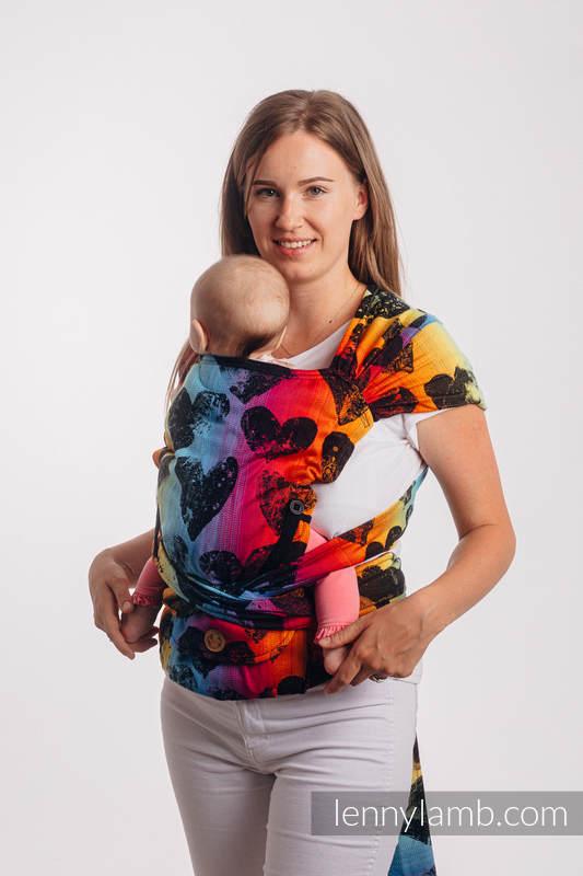 LennyHybrid Half Buckle Carrier, Standard Size, jacquard weave 100% cotton - LOVKA RAINBOW DARK #babywearing
