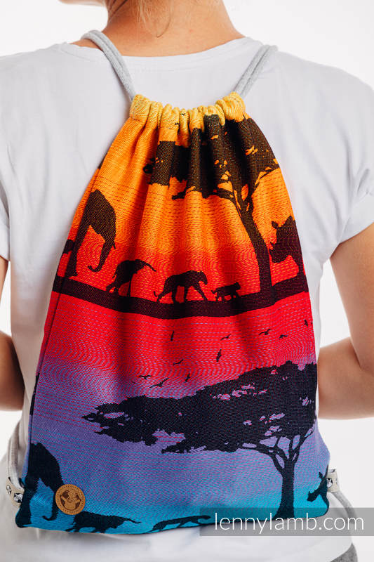 Mochila portaobjetos hecha de tejido de fular (100% algodón) - RAINBOW SAFARI 2.0 - talla estándar 32cmx43cm #babywearing