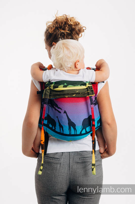 Lenny Buckle Onbuhimo baby carrier, standard size, jacquard weave (100% cotton) - RAINBOW SAFARI 2.0 #babywearing