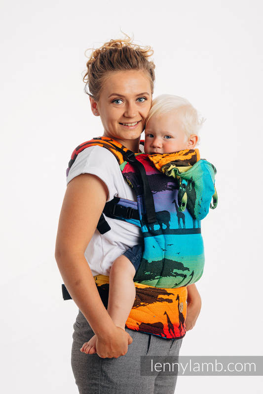 LennyGo Ergonomic Carrier, Baby Size, jacquard weave 100% cotton - RAINBOW SAFARI 2.0 #babywearing