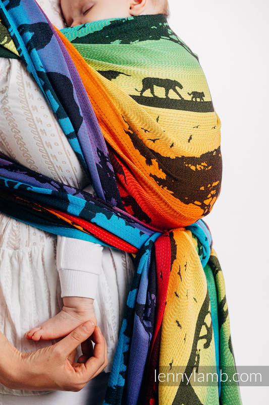 Żakardowa chusta do noszenia dzieci, bawełna - TĘCZOWE SAFARI 2.0 - rozmiar M #babywearing