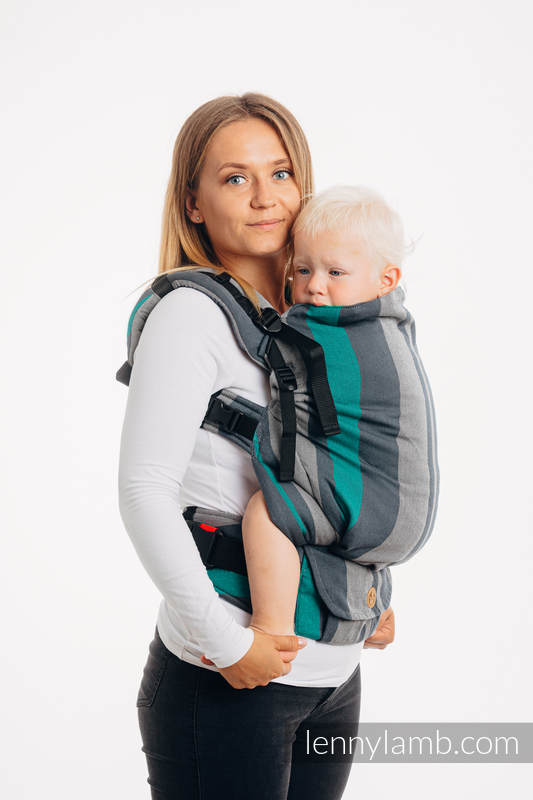 Nosidełko LennyPreschool  z tkaniny skośno-krzyżowej 100% bawełna, rozmiar preschool - SMOKY - MIĘTA #babywearing
