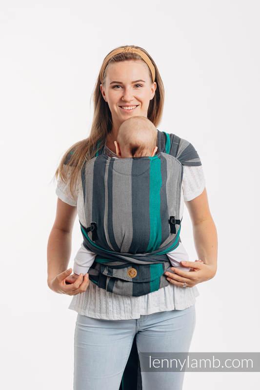 LennyHybrid Half Buckle Carrier, Standard Size, broken - twill weave 100% cotton - SMOKY - MINT #babywearing