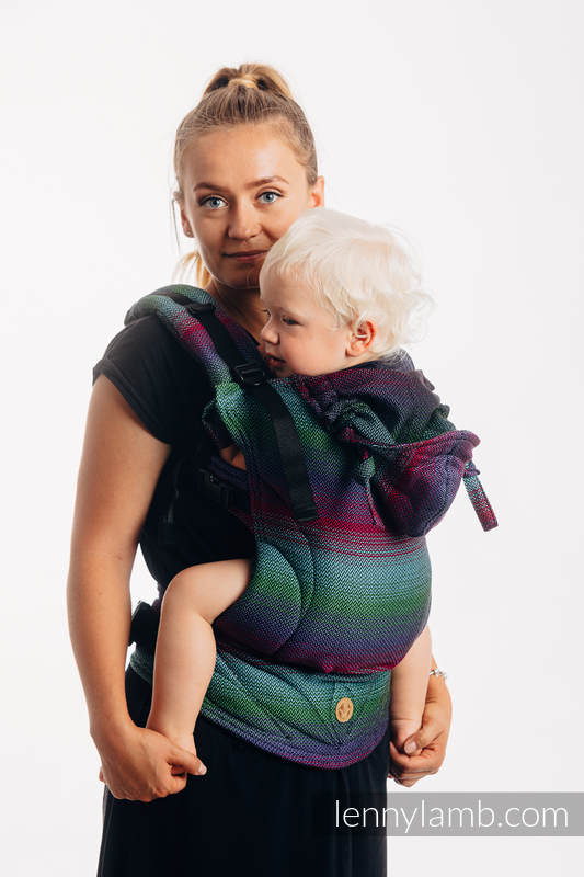 LennyGo Ergonomic Carrier, Baby Size, herringbone weave 100% cotton - LITTLE HERRINGBONE IMPRESSION DARK #babywearing