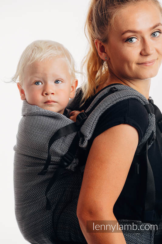 LennyPreschool Carrier, Preschool Size, herringbone weave 100% cotton - LITTLE HERRINGBONE OMBRE GREY #babywearing