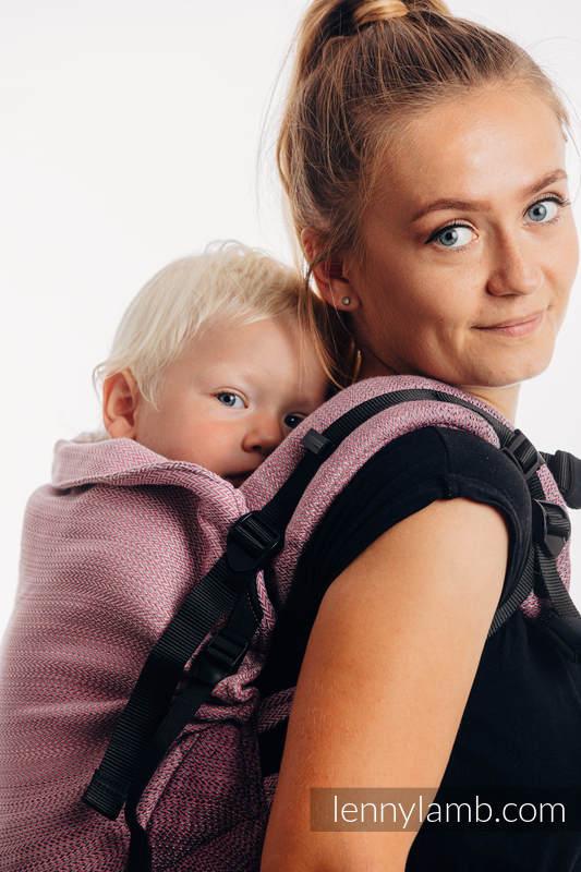 LennyPreschool Tragehilfe, Größe Preschool, Fischgrätmuster, 100% Baumwolle - LITTLE HERRINGBONE OMBRE PINK #babywearing