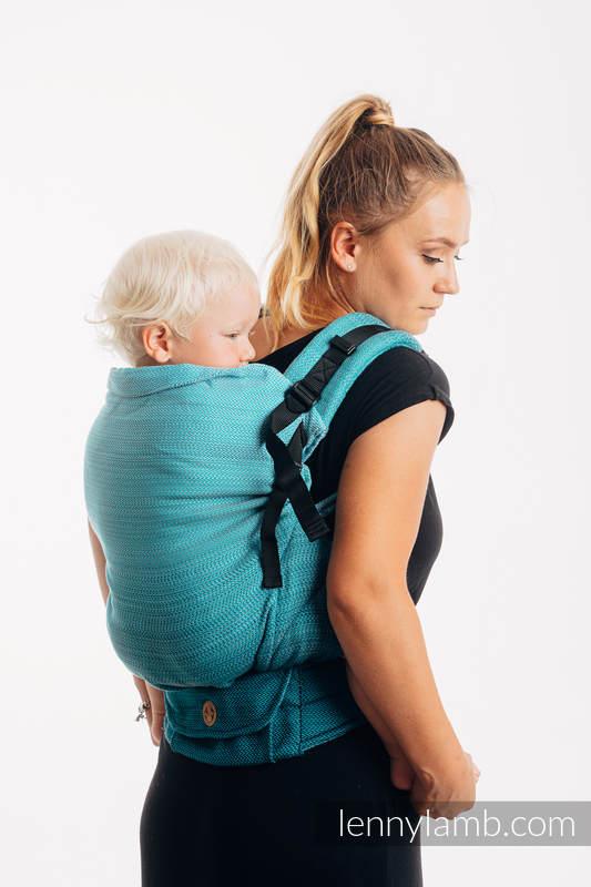 LennyPreschool Carrier, Preschool Size, herringbone weave 100% cotton - LITTLE HERRINGBONE OMBRE TEAL #babywearing