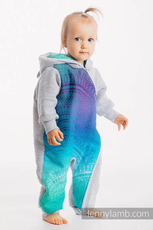 Bear Romper - size 68 - Gray melange & Peacock's Tail - Fantasy #babywearing