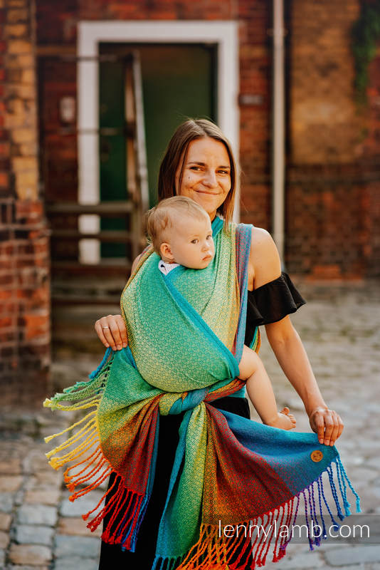 Baby Wrap with Fringes, Jacquard Weave (100% cotton) - LITTLELOVE JUNGLE - size M #babywearing
