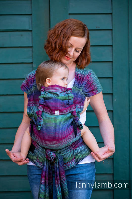 LennyHybrid Half Buckle Carrier, Standard Size, herringbone weave 100% cotton - LITTLE HERRINGBONE IMPRESSION DARK #babywearing