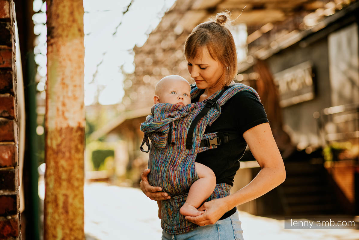 LennyGo Ergonomische Tragehilfe, Größe Baby, Jacquardwebung, 100% Baumwolle - COLORFUL WIND #babywearing
