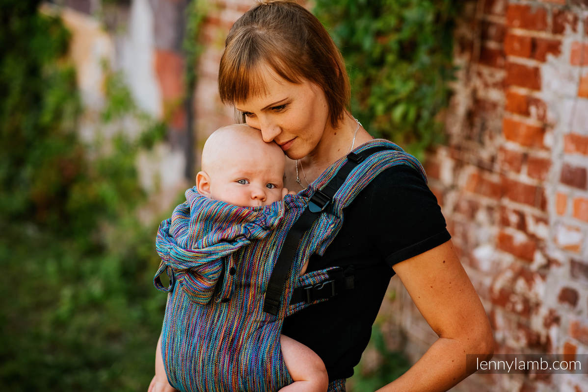 LennyGo Ergonomic Carrier, Baby Size, jacquard weave 100% cotton - COLORFUL WIND  #babywearing