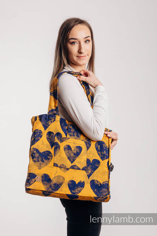 Shoulder bag made of wrap fabric (100% cotton) - LOVKA MUSTARD & NAVY BLUE - standard size 37cmx37cm #babywearing