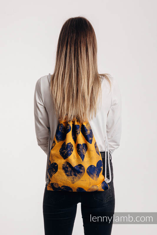 Sackpack made of wrap fabric (100% cotton) - LOVKA MUSTARD & NAVY BLUE - standard size 32cmx43cm #babywearing