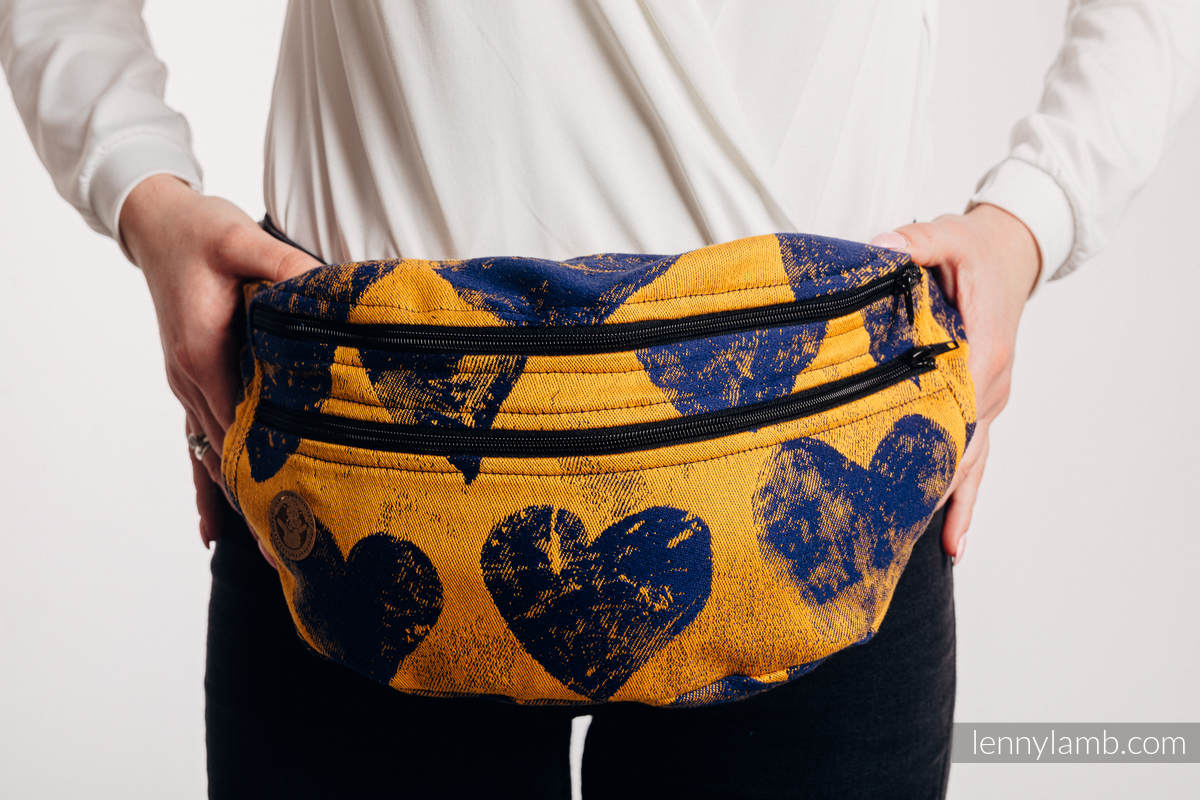 Waist Bag made of woven fabric, size large (100% cotton) - LOVKA MUSTARD & NAVY BLUE  #babywearing