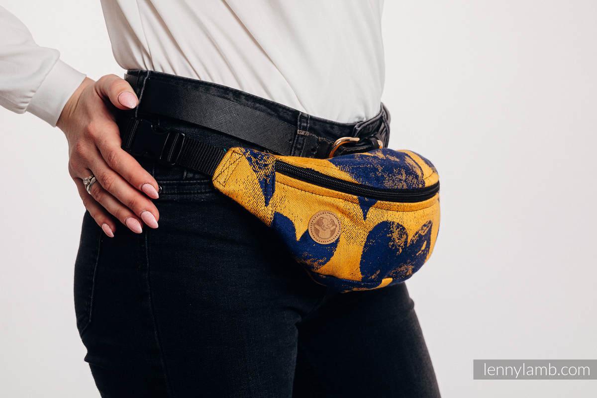 Waist Bag made of woven fabric, (100% cotton) - LOVKA MUSTARD & NAVY BLUE  #babywearing