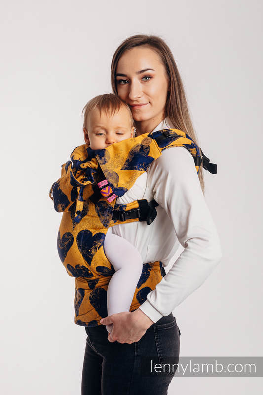 Drool Pads & Reach Straps Set, (60% cotton, 40% polyester) - LOVKA MUSTARD & NAVY BLUE  #babywearing