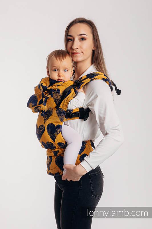 LennyGo Ergonomic Carrier, Baby Size, jacquard weave 100% cotton - LOVKA MUSTARD & NAVY BLUE  #babywearing