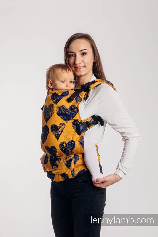 LennyUpGrade Carrier, Standard Size, jacquard weave 100% cotton - LOVKA MUSTARD & NAVY BLUE  #babywearing