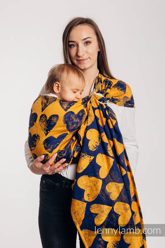 RingSling, Jacquardwebung (100% Baumwolle), mit Raffung an den Ringen - LOVKA MUSTARD & NAVY BLUE - standard 1.8m #babywearing
