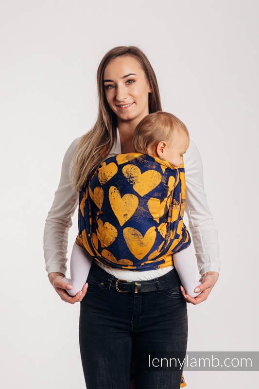 Żakardowa chusta do noszenia dzieci, bawełna - LOVKA MUSZTARDA Z GRANATEM - rozmiar XS #babywearing