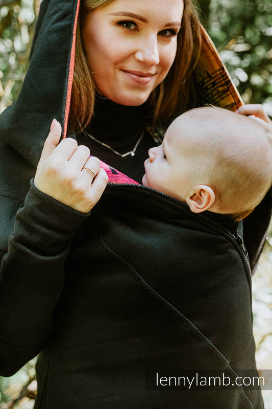 Asymmetrischer Pullover - Schwarz mit Symphony Rainbow Dark - Größe 3XL (grad B) #babywearing