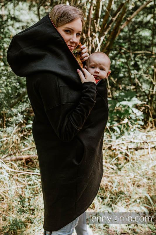 Asymmetrischer Pullover - Schwarz mit Symphony Rainbow Dark - Größe 3XL #babywearing