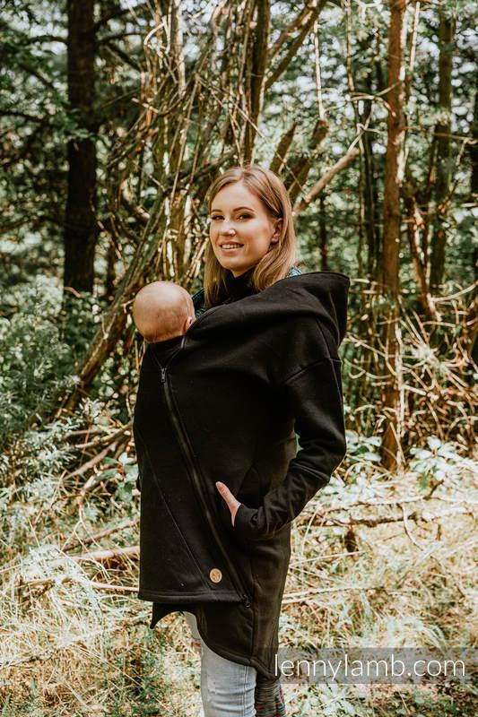 Asymmetrical Hoodie - Black with Wild Soul Daedalus - size M #babywearing
