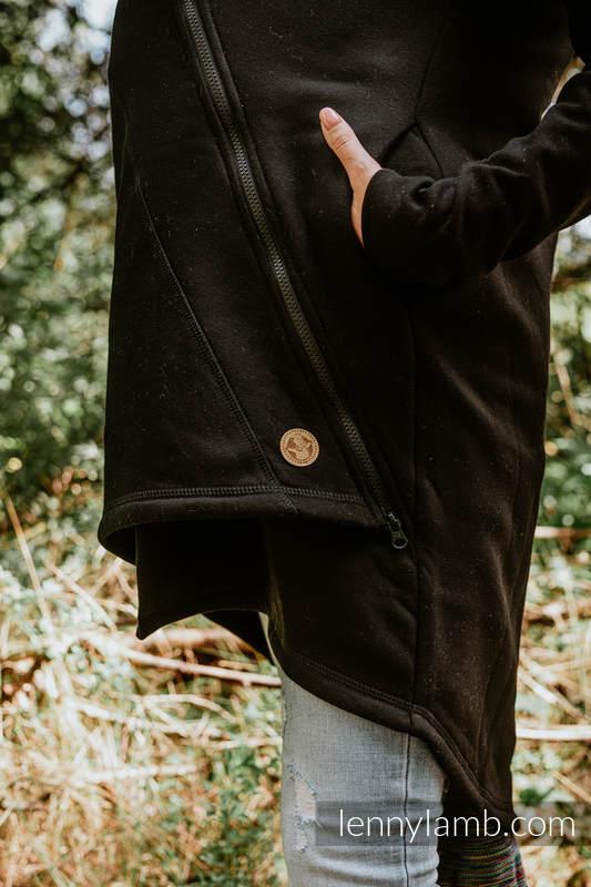 Asymmetrical Hoodie - Black with Wild Soul Daedalus - size L #babywearing