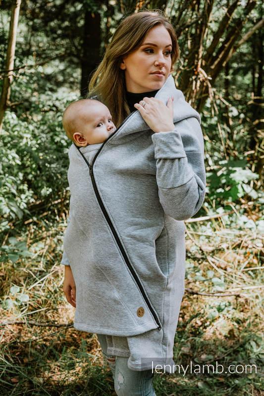 Asymmetrischer Pullover - Graue Melange mit Peacock's Tail Fantas - Größe 3XL #babywearing