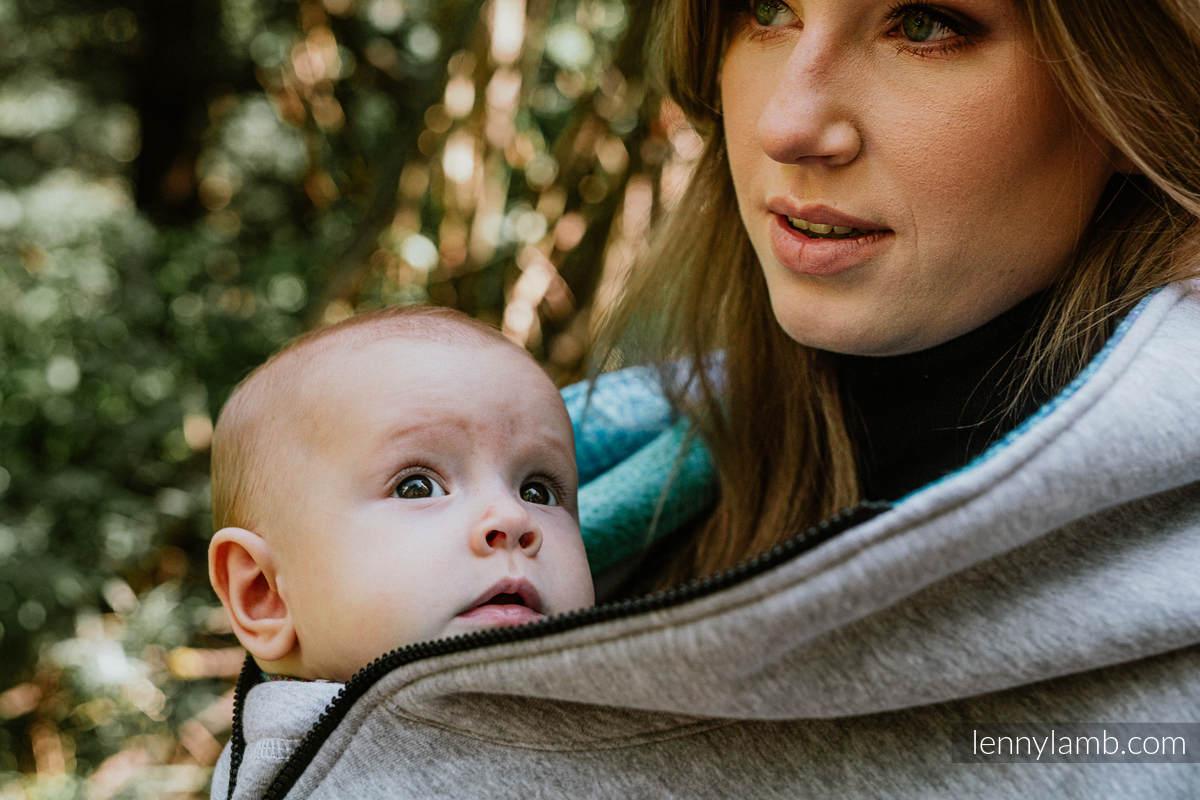 Asymetryczna Bluza - Szary Melanż z Pawi Ogon Fantazja - rozmiar 3XL #babywearing