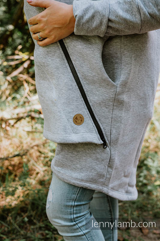 Asymetryczna Bluza - Szary Melanż z Pawi Ogon Fantazja - rozmiar 5XL #babywearing