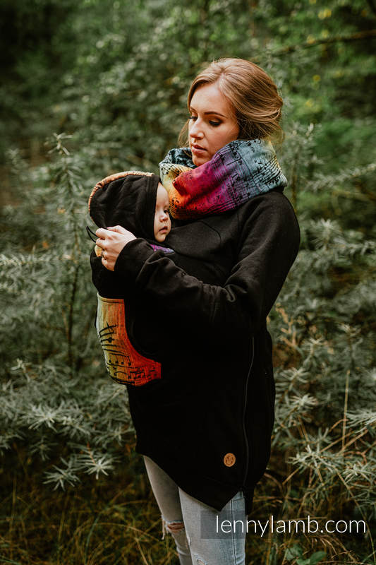 Babywearing Sweatshirt 3.0 - Black with Symphony Rainbow Dark - size 4XL #babywearing