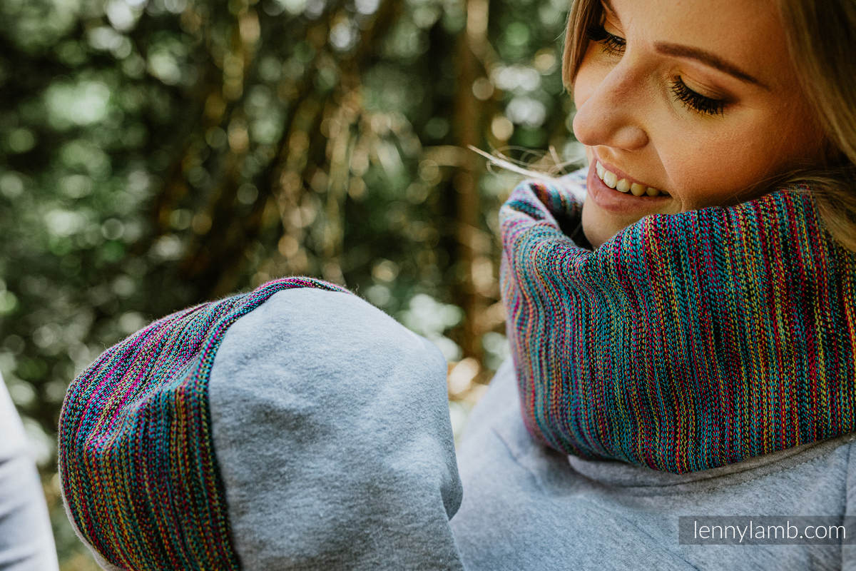 Tragepullover 3.0 - Graue Melange mit Colorful Wind - Größe 4XL #babywearing