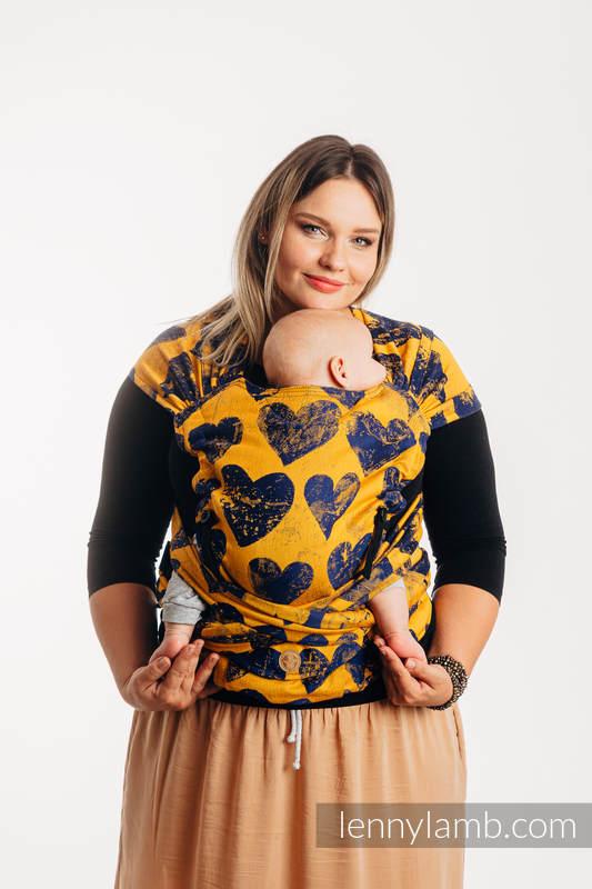 Nosidełko LennyHybrid Half Buckle, splot żakardowy, 100% bawełna , rozmiar standard -  LOVKA MUSZTARDA Z GRANATEM  #babywearing
