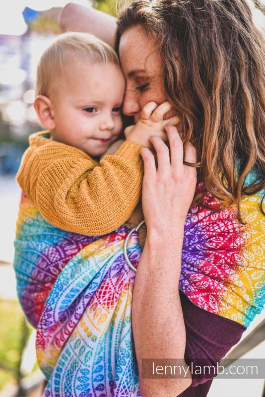 Chusta kółkowa, splot żakardowy, ramię bez zakładek (100% bawełna) - PAWI OGON - FUNFAIR - standard 1.8m #babywearing
