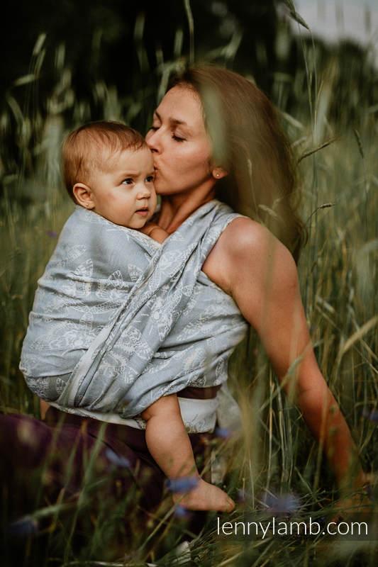 Żakardowa chusta do noszenia dzieci, 65% bawełna, 35% len - KRÓLOWA NOCY - TYLKO CISZA - rozmiar S #babywearing