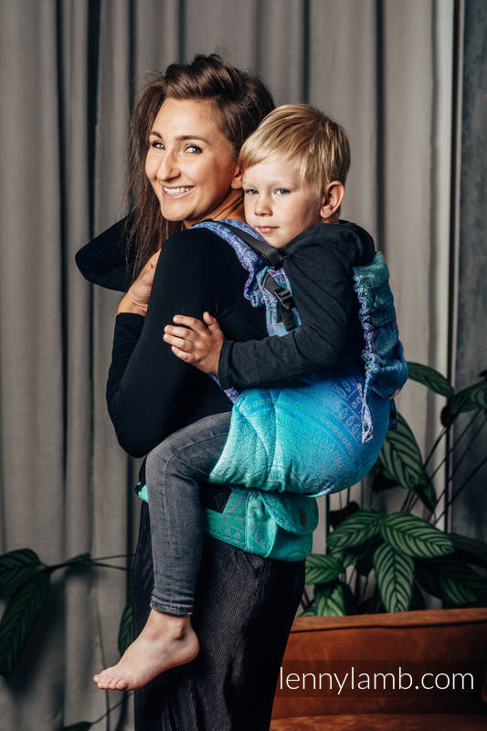 LennyPreschool Tragehilfe, Größe Preschool, Jacquardwebung, 100% Baumwolle - PEACOCK'S TAIL - FANTASY #babywearing